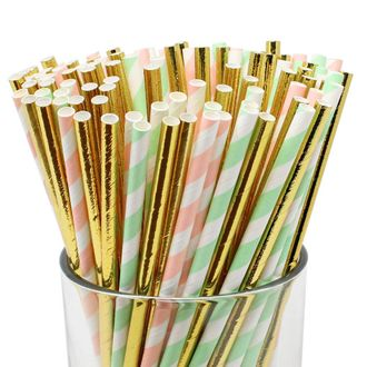 Assorted Decorative Striped Paper Straws 100pcs - Light Pink/Mint Striped w/Solid Metallic Gold - Premier