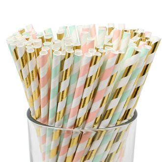 Assorted Decorative Striped Paper Straws 100pcs - Light Pink/Seafoam/Metallic Gold Striped - Premier