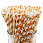 Assorted Decorative Striped Paper Straws 100pcs - Orange/Apricot/Metallic Gold Striped - Premier