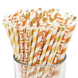Assorted Decorative Striped Paper Straws 100pcs - Orange/Pumpkin Maze/Metallic Gold Striped - Premier