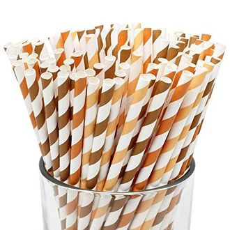 Assorted Decorative Striped Paper Straws 100pcs - Pumpkin/Apricot/Chocolate Striped - Premier