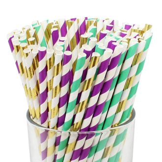 Assorted Decorative Striped Paper Straws 100pcs - Purple/Turquoise/Metallic Gold Striped - Premier