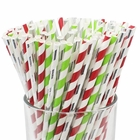 Assorted Decorative Striped Paper Straws 100pcs - Red/Green Apple/Metallic Silver Striped - Premier