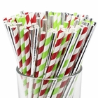 Assorted Decorative Striped Paper Straws 100pcs - Red/Green Apple Striped w/Solid Metallic Silver - Premier