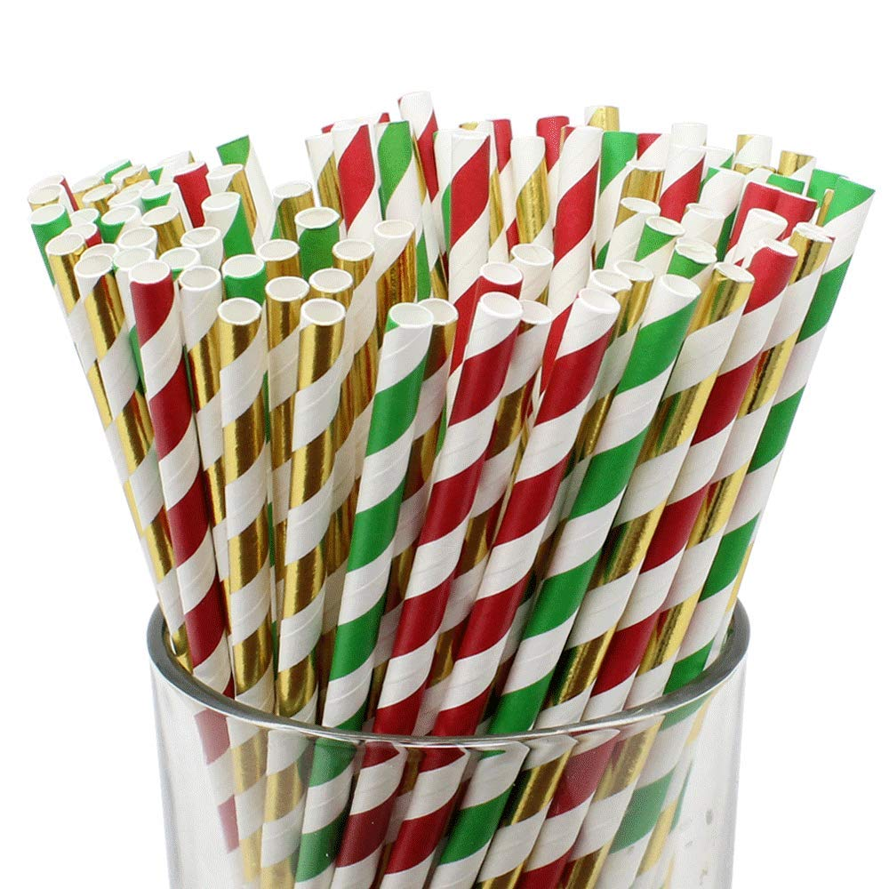 Assorted Decorative Striped Paper Straws 100pcs - Red/Green/Metallic Gold Striped - Premier