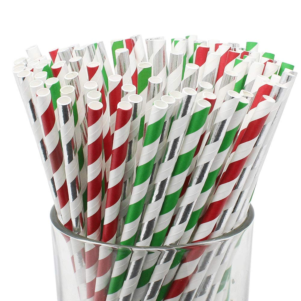 Assorted Decorative Striped Paper Straws 100pcs - Red/Green/Metallic Silver Striped - Premier