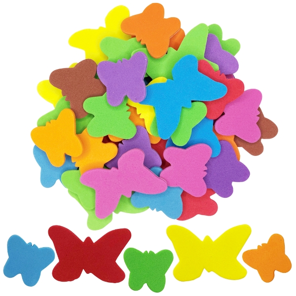 Assorted Foam Craft Sticker Butterflies 35pcs