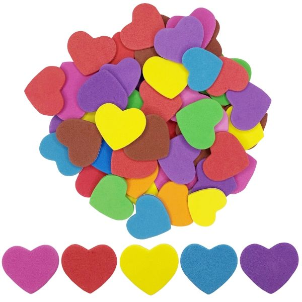 Assorted Foam Craft Sticker Hearts 35pcs