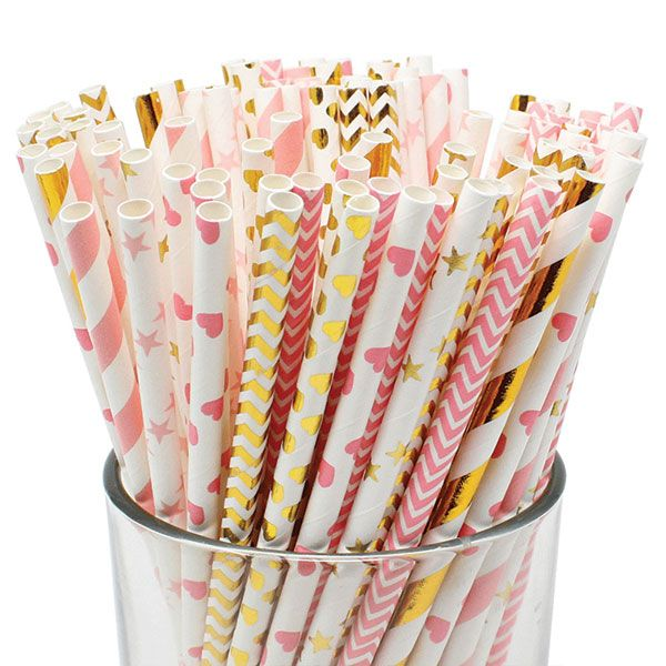 Assorted Gold and Pink Pattern Paper Straws 100pcs
