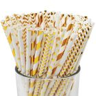 Assorted Golds Pattern Paper Straws 100pcs