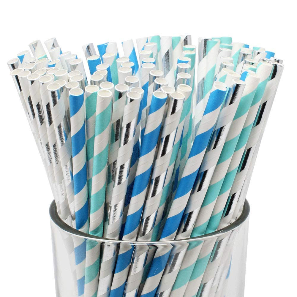 Assorted Paper Straw Kit (100pcs, Striped: Light Blue/Blue/Metallic Silver) - Premier