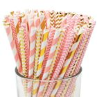 Assorted Pink and Gold Pattern Paper Straws 100pcs