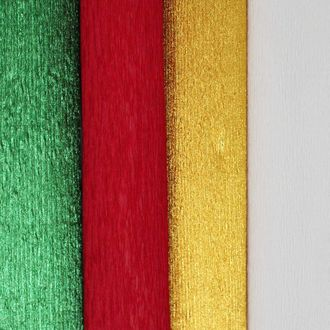 Assorted Premium Crepe Paper Rolls - 8ft Length/20in Width (4pcs, Color: Christmas) - Premier