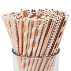 Assorted Rose Golds Pattern Paper Straws 100pcs