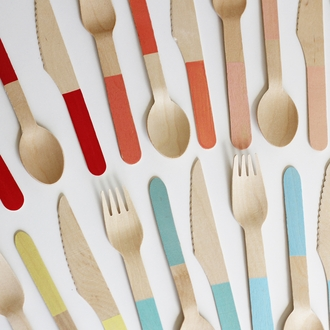 Baby Blue Dipped Wooden Cutlery Utensil Assortment 24pcs