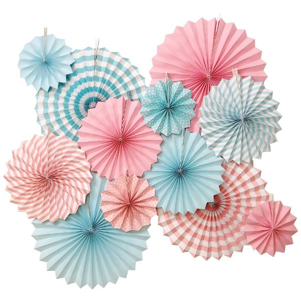 Baby Shower Gender Reveal Paper Pinwheel Decorating Kit 12pcs