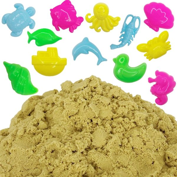 Beach Brown 1lb Sensory Play Sand with 12 Aquatic Molds