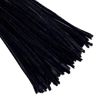 Black Chenille Stem Pipe Cleaners 100pcs