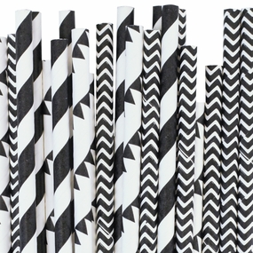 Black/Gray Paper Straws