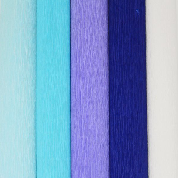 Blue Assorted Crepe Paper Roll Package 5pcs