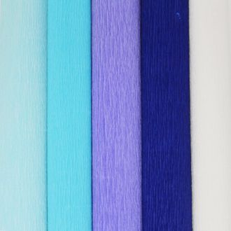 Blue Assorted Crepe Paper Roll Package 5pcs 90g