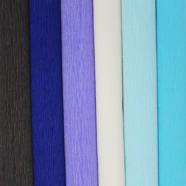 Blue Assorted Crepe Paper Roll Package 6pcs