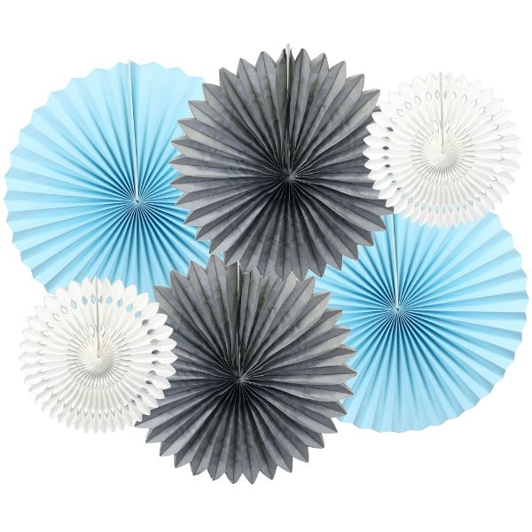 Blue Moon Pinwheel and Tissue Fan Decorating Kit 6pcs