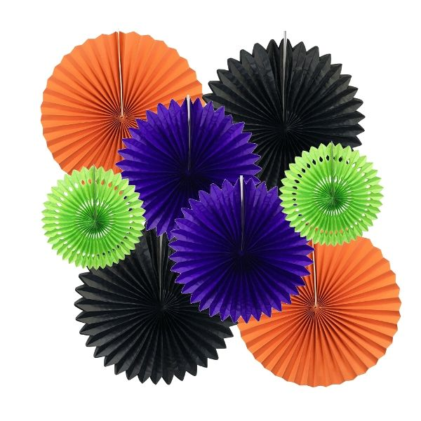 BOO-tiful Pinwheel and Tissue Fan Decorating Kit 8pcs