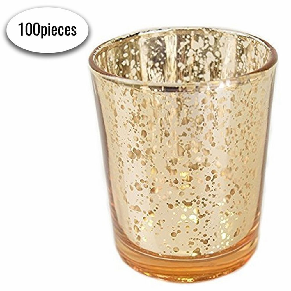 "Bulk Mercury Glass Votive Candle Holder 2.75""H (100pcs, Speckled Gold) - Premier"