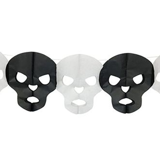 Candy Skull Expandable Tissue Paper Garland Party Streamers (6 Pack, White/Black) - Premier