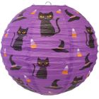 Cats Witches Hats and Candy Purple 12inch Paper Lantern