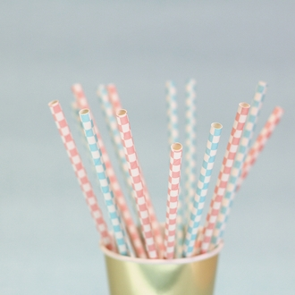 Checkered Paper Straws 25pcs Baby Blue