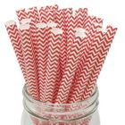 Chevron Red Boba Milkshake Wide Paper Straws 25pcs