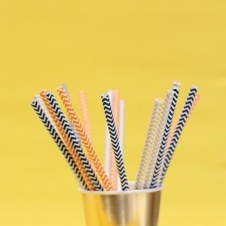 Chevron Stripe Paper Straws 25pcs Orange