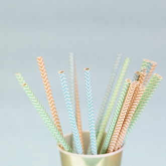 Chevron Striped Paper Straws 25pcs Apricot