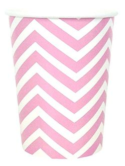 Chevron Striped Party Paper Cups (24pc, Baby Pink) - Premier