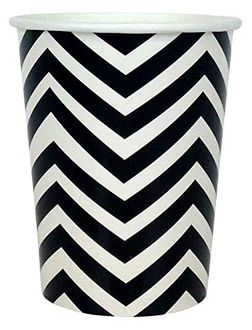 Chevron Striped Party Paper Cups (24pc, Black) - Premier