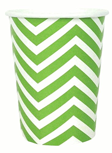 Chevron Striped Party Paper Cups (24pc, Green Apple) - Premier