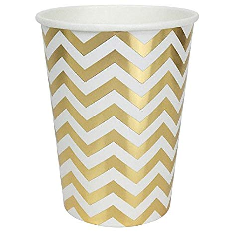 Chevron Striped Party Paper Cups (24pc, Metallic Gold) - Premier