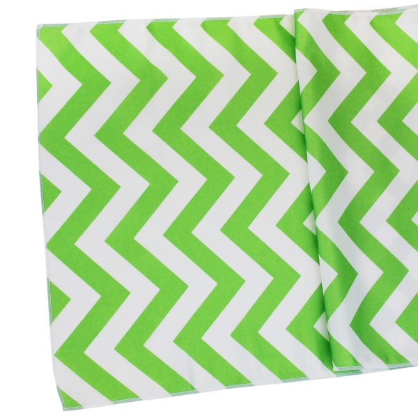 Chevron Table Runner Grass Green
