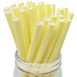 Chevron Yellow Boba Milkshake Wide Paper Straws 25pcs