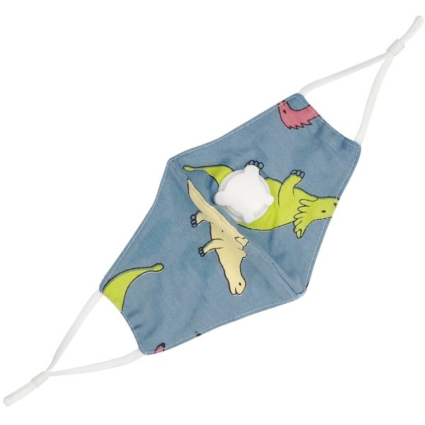 Children's Cloth Face Mask Blue Green Dinosaurs with Valve