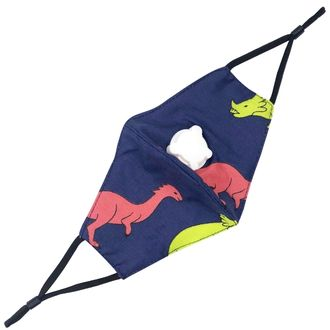 CLEARANCE Children's Cloth Face Mask Navy Dinosaurs With Valve