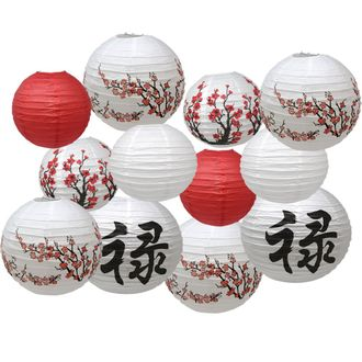 Chinese New Year Themed 12pc Assorted Paper Lantern Pack - Premier