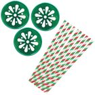 Christmas Candy Mason Jar Beverage Kit 12pcs Lids 25pcs Paper Straws -Premier