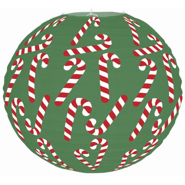 Christmas Cheer Candy Canes Green 12inch Paper Lantern