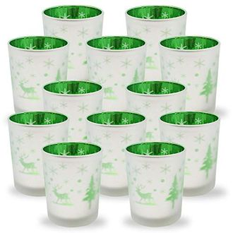 Christmas Frosted Metallic Votive Candle Holder 2.75-Inch - Silver and Green Winter Pine (Set of 12) - Premier