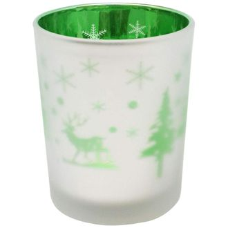 Christmas Frosted Metallic Votive Candle Holder 2.75-Inch - Silver and Green Winter Pine (Set of 25) - Premier