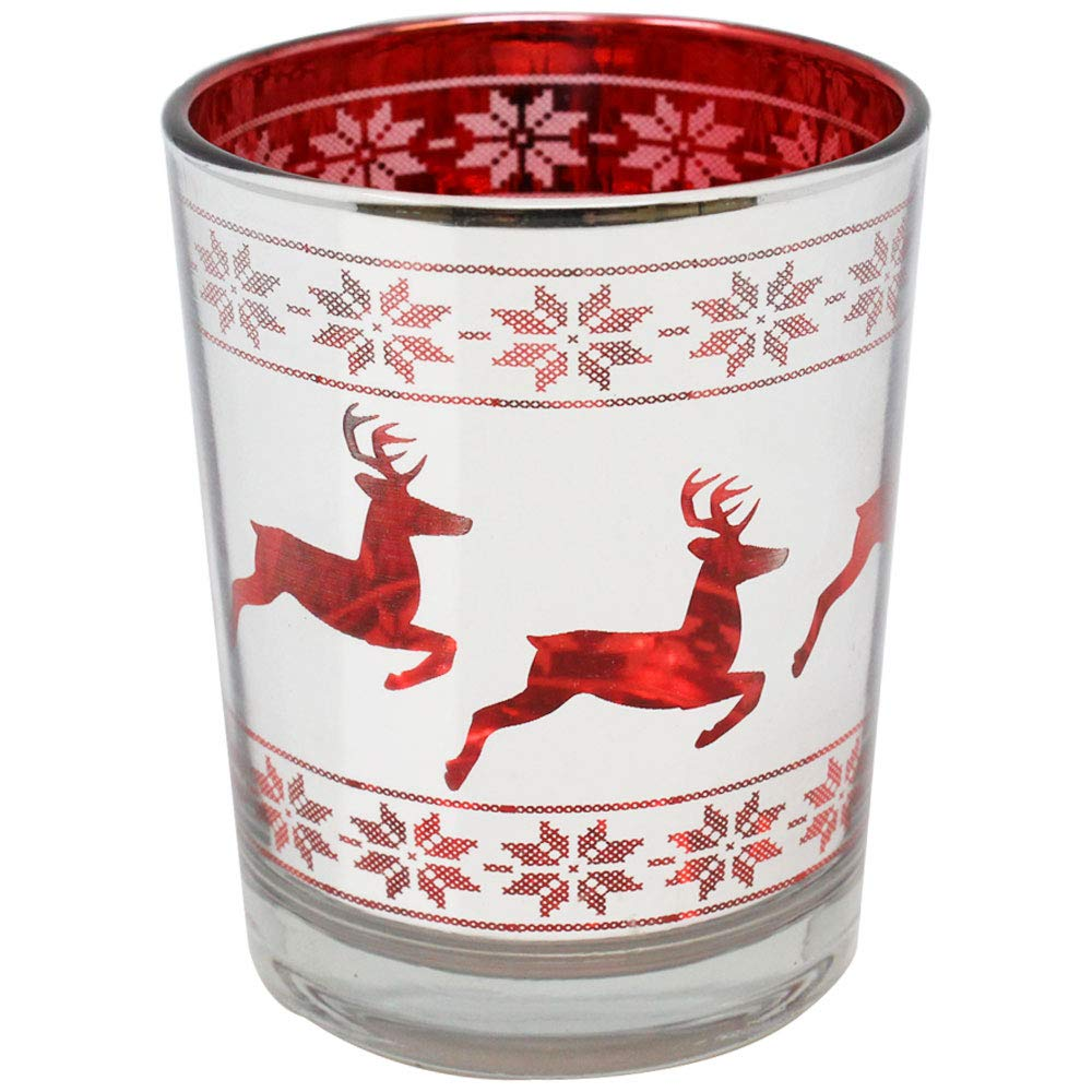 Christmas Metallic Votive Candle Holder 2.75-Inch - Silver and Red Dashing Deer (Set of 25) - Premier