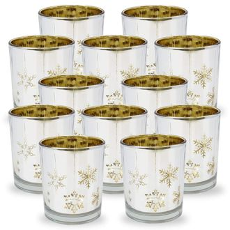 Christmas Metallic Votive Candle Holder 2.85-Inch - Silver and Gold Snowflakes (Set of 12) - Premier